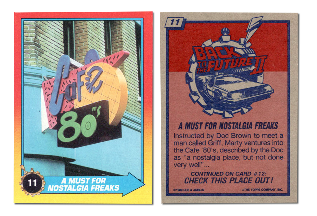 Back to the future II trading cards