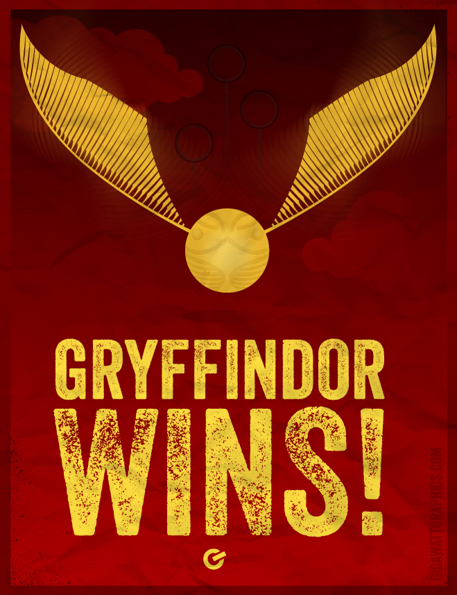 Harry Potter Inspired Poster - Gryfindor Wins - Golden Snitch -GigawattGraphics