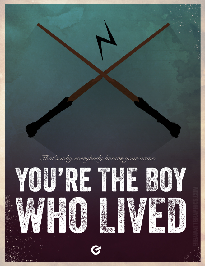 Harry Potter Inspired Poster - The Boy Who Lived - Wand - GigawattGraphics